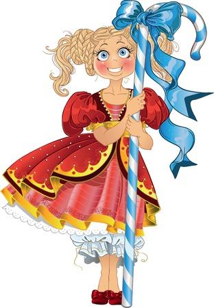 vestidos de epoca: niña con el caramelo en vestido rojo Vectores