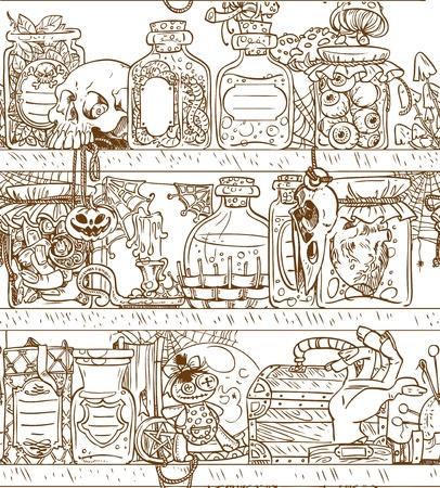 pocion: Estantes Seamless antecedentes con parafernalia de brujas de Halloween