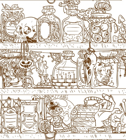 magic potion: Seamless background shelves with Halloween witch paraphernalia