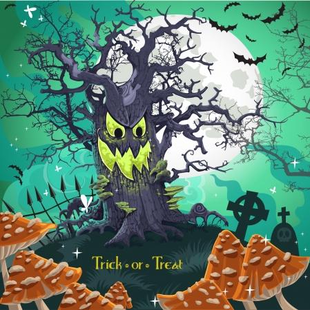 champignon magique: �pouvantable arbre de bande dessin�e de Halloween avec un sourire � minuit le 31 Octobre sur le cimeti�re