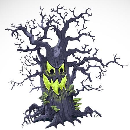 creepy monster: Pessimo albero del fumetto di Halloween con un sorriso isolato su sfondo bianco