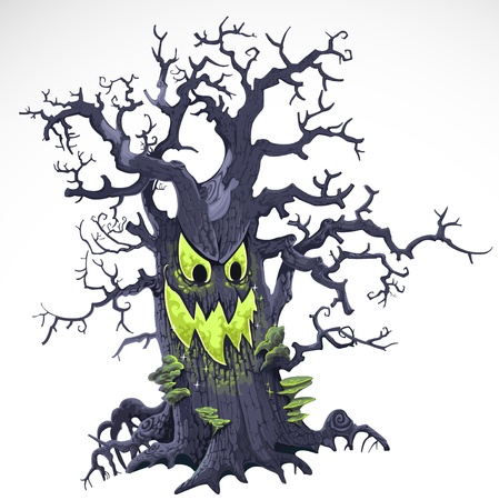 scaring: Terrible Halloween cartoon tree with a grin isolated on white background  Illustration