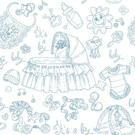 fondo para bebe: Seamless es un ni�o con juguetes, ropa y accesorios del doodle