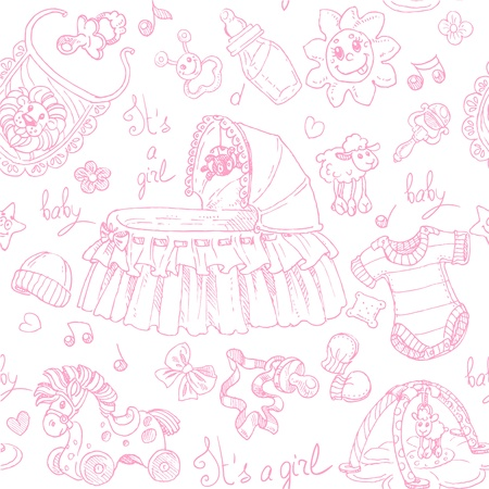 Seamless background is a girl with toys, clothing and accessories doodle Vector