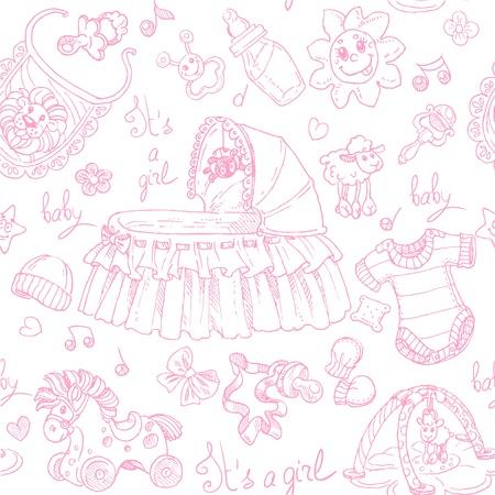 fondo para bebe: Seamless es una ni�a con juguetes, ropa y accesorios del doodle