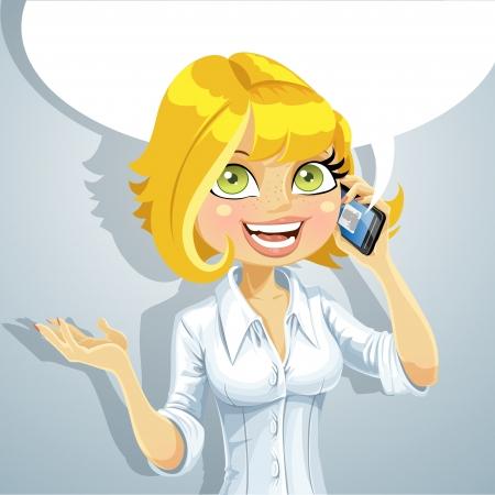 Cute blonde Mädchen sprechen am Telefon über etwas Angenehmes