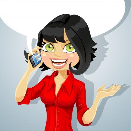 Schattige brunette meisje praten over de telefoon over iets aangenaams Stock Illustratie