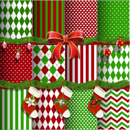 Big collection of vector christmas backgrounds and elements for design Stock Vector - 16030471