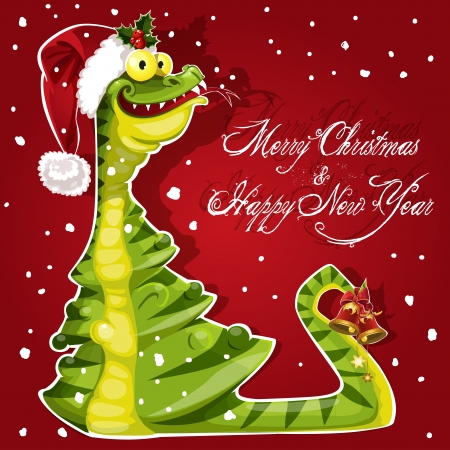 New Year Snake ate a Christmas tree banner on red background