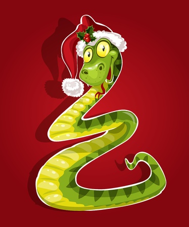 New Year Snake on red background Stock Vector - 16030452