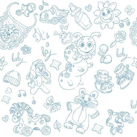 Seamless background its a boy with toys, clothing and accessories doodle Vector