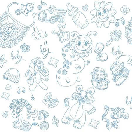 fondo para bebe: Seamless Es un muchacho con los juguetes, la ropa y los accesorios del doodle
