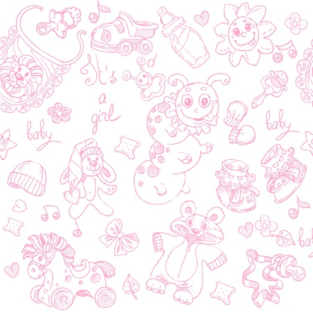 Seamless background its a girl with toys, clothing and accessories doodle Vector