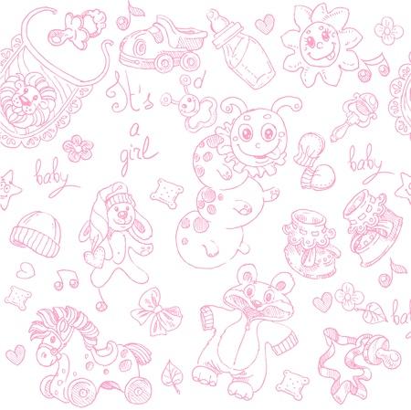 lullaby: Seamless Su una muchacha con los juguetes, la ropa y los accesorios del doodle