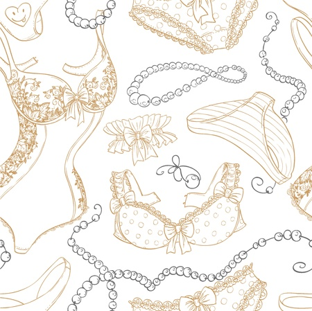 Vintage seamless background with lingerie and beads line sketch Illustration