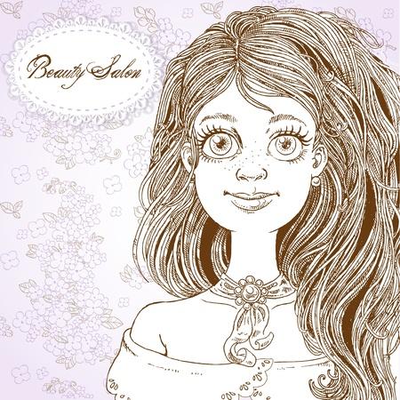 Beauty Salon - Cute retro girl with beautyful hair on a lilac background Stock Vector - 16030469
