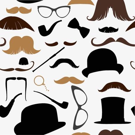 fake mustaches: Art Deco seamless pattern, retro style, vector illustration mustache, hat, sunglasses, tube