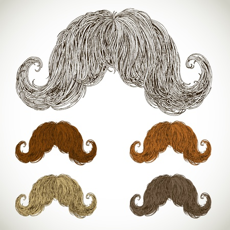 lush mustache groomed in several colors  easily editable detailed graphic design Vector