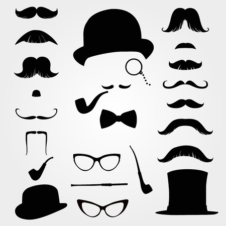 cartoon hairdresser: Mustaches and other retro accessories