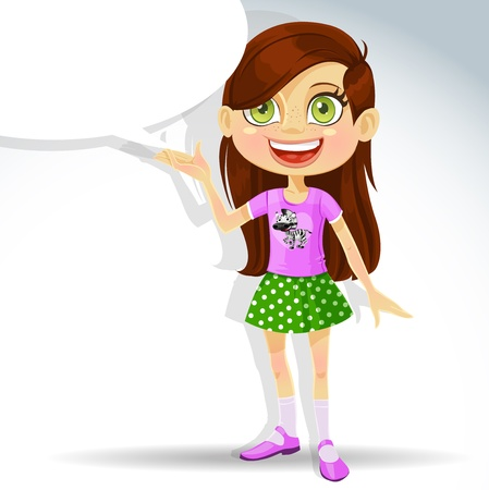 Cute little schoolgirl with speech bubble for text. Stock Vector - 16030472