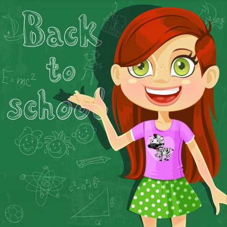 Banner - Back to school - cute little girl at the board ready to learn. Vector