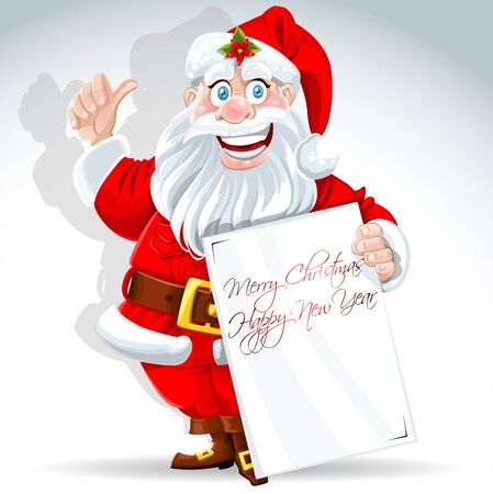 Cute Santa Claus holds banner for text Иллюстрация