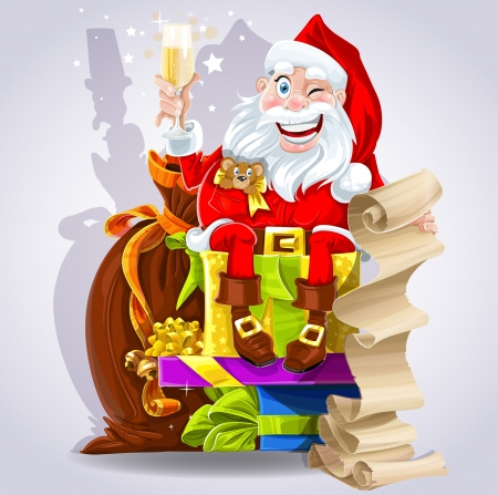 Cute Santa Claus with gifts and champagne New Year congratulations
