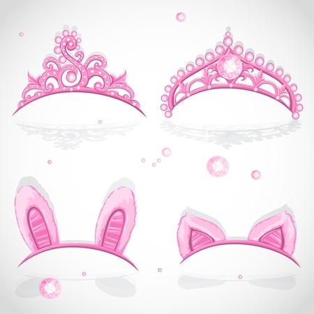 tiara: Shining pink girls tiaras with diamonds and carnival tabs on the hoop set