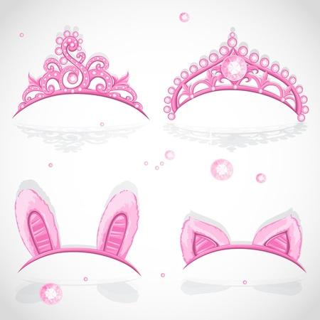 Shining roze meisjes tiara met diamanten en carnaval lipjes aan de hoepel set Stock Illustratie