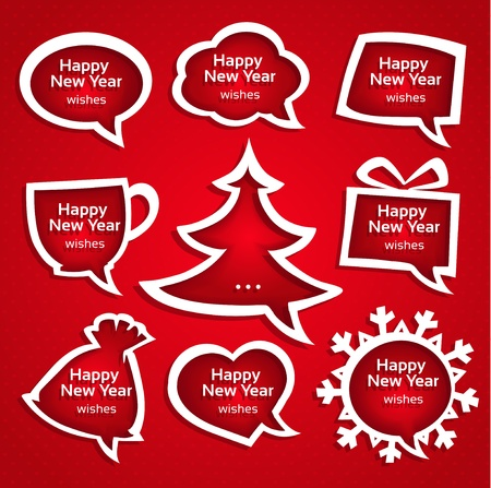 Christmas speech bubles set various shapes with New Year Greetings Vector