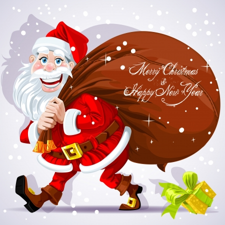 santa suit: Cute Santa Claus carries a bag of gifts and Happy New Year wishes. Illustration