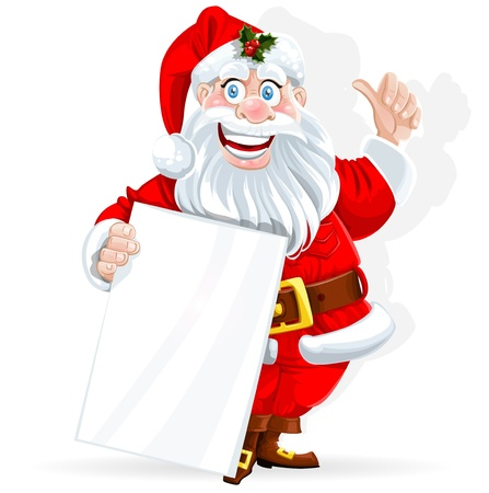 feliz: Cute Santa Claus detiene banner per il testo isolato su sfondo bianco Vettoriali