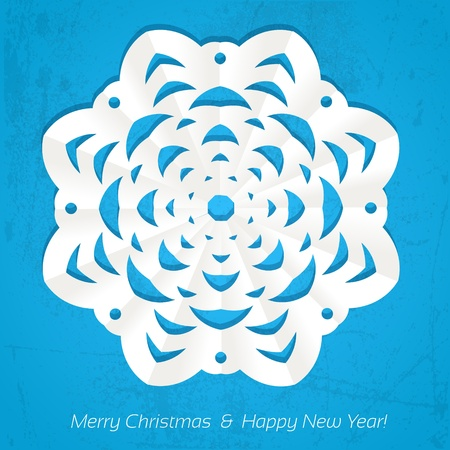 ave: Applique snowflake Christmas card on grunge background Illustration
