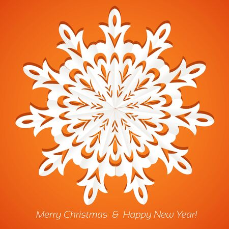 Applique snowflake Christmas card on juicy festive orange background Vector
