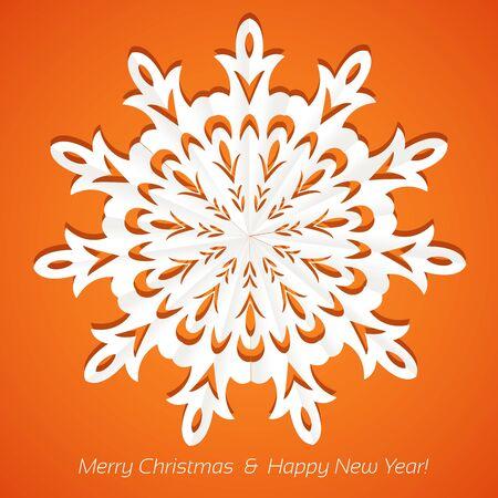 ave: Applique snowflake Christmas card on juicy festive orange background