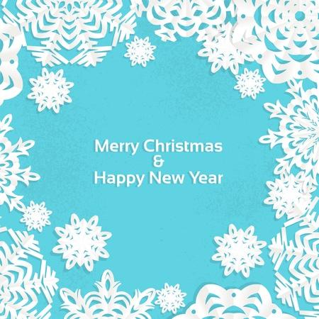christmas template: Applique fiocco di neve cornice di Natale per il vostro testo