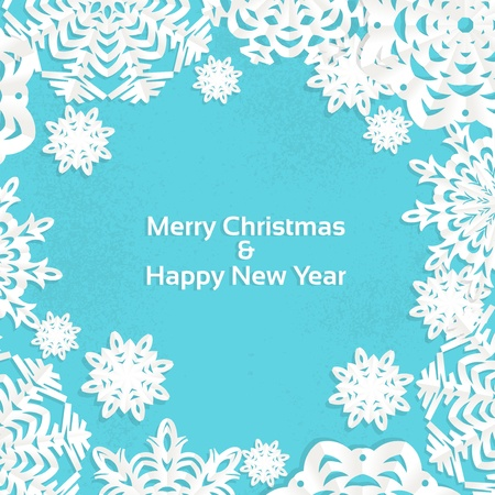 christmas snow: Applique snowflake Christmas frame for your text Illustration