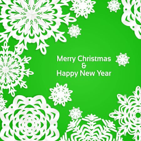 year curve: Applique snowflake Christmas green banner