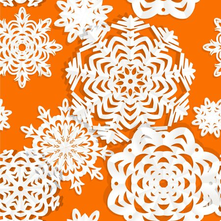 Applique snowflake Christmas seamless background Vector