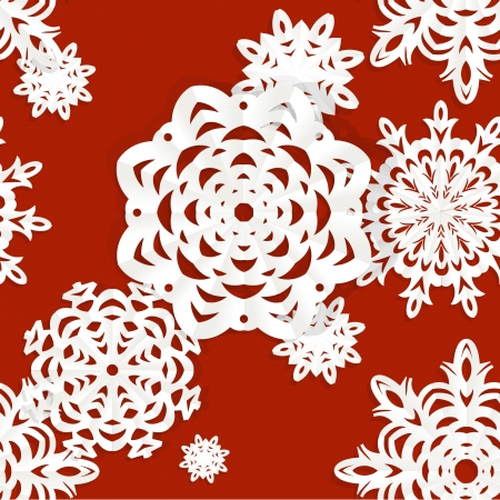 Applique snowflakes Christmas seamless background easy editable color background Vector