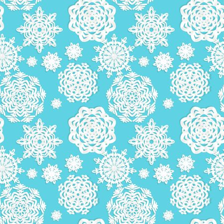 Applique snowflakes Christmas seamless background easy editable color of background Vector