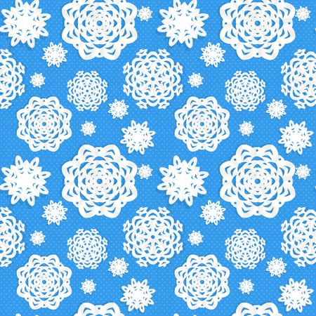 Seamless Christmass background from snowflakes applique Vector
