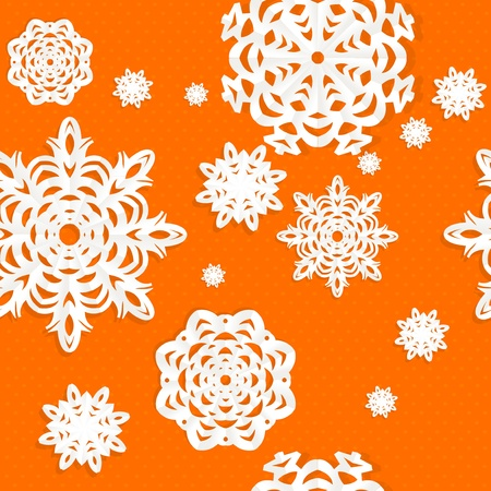 Seamless Christmass background from snowflakes applique on orange background Vector