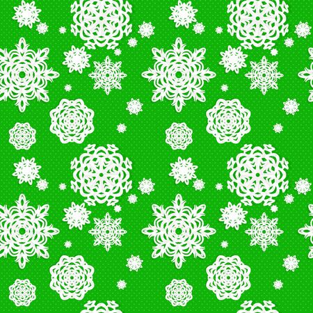 Seamless Christmass background from snowflakes applique on green background. Vector
