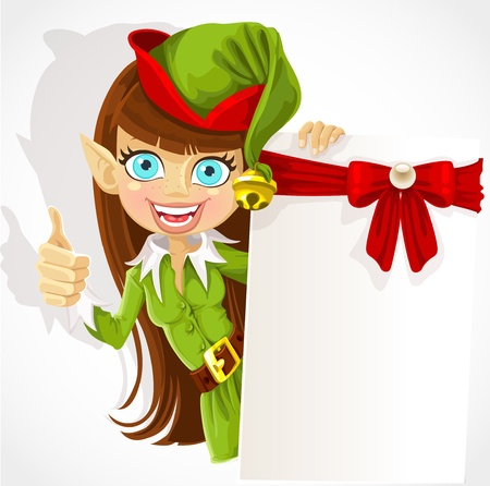 helpers: Cute girl the Christmas elf with a banner for your congratulation shows a hand a finger up - an approval sign