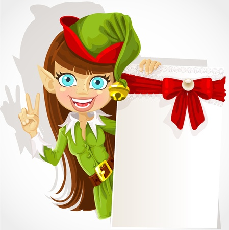 christmas costume: Lovely girl the Christmas elf with a banner for your congratulation