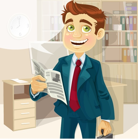 good looking man: Business man in morning office read a summary of the news