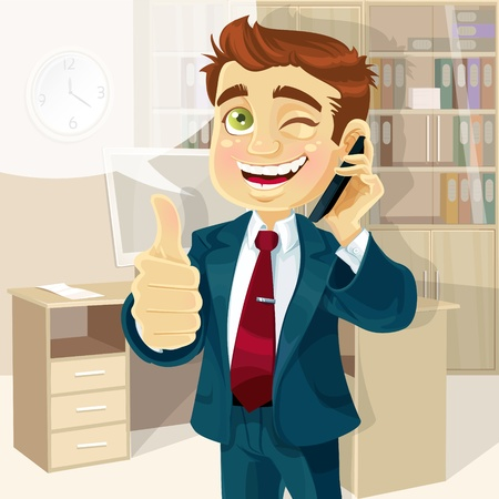 good looking man: Business man in office reported good news on the phone and shows all is OK Illustration