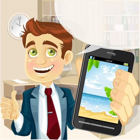 Business man in office shows a photo resort on the phone