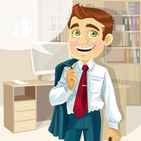 fun at work: Business man in office with speech bubble gonna go home
